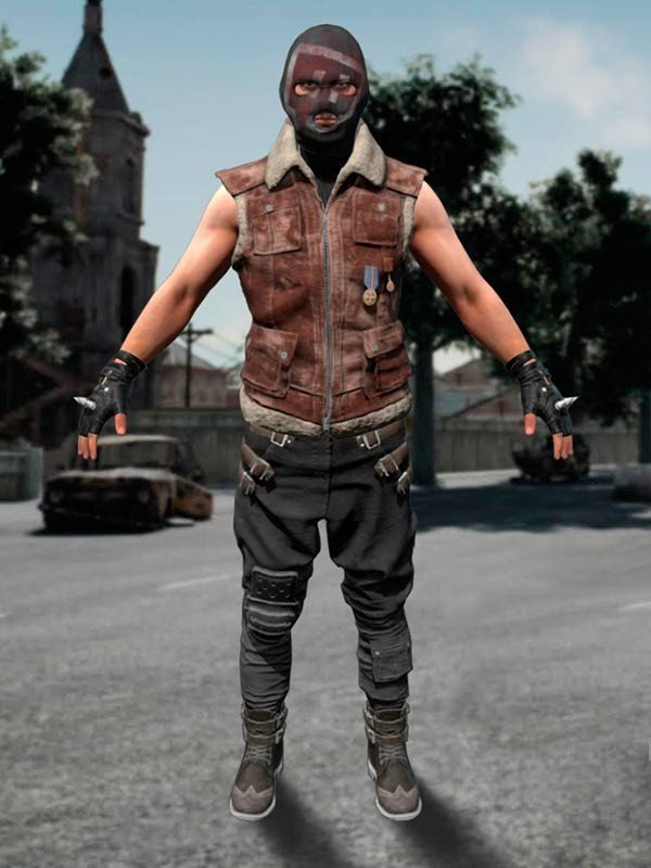 Pubg Cosplay Brown Leather Vest