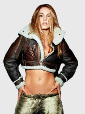 Singer Britney Spears Shearling Leather Jacket