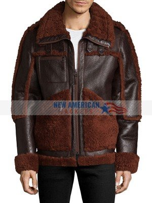 Mens Winter Brown Sheepskin Shearling Leather Jacket