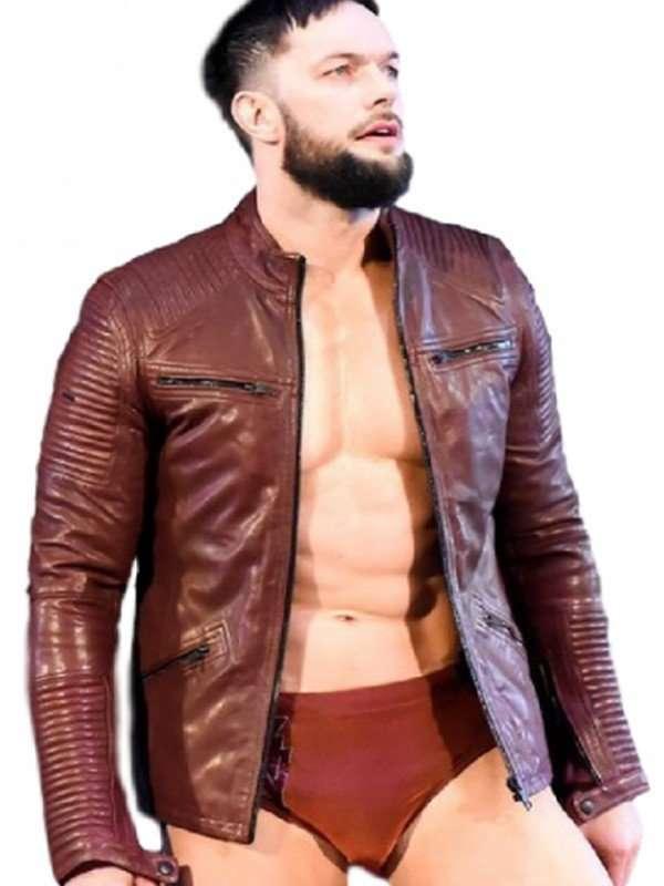Raw Finn Balor Maroon Leather Jacket