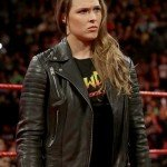 Ronda Rousey Quilted Shoulders Biker Leather Jacket