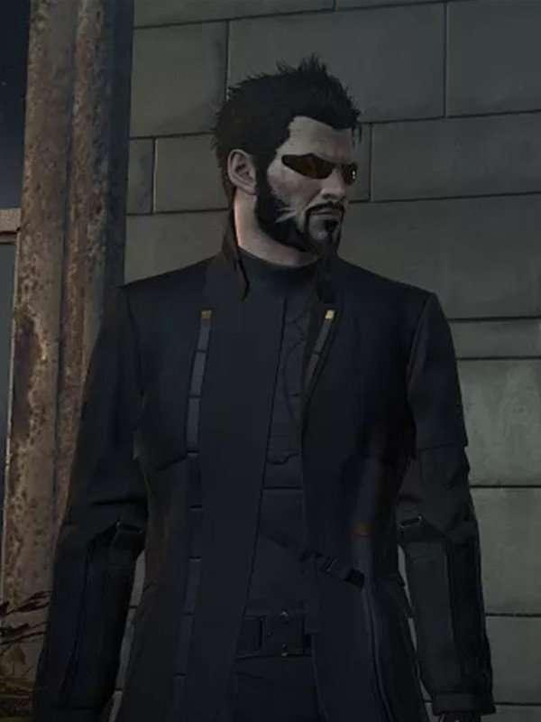 Adam Jensen Black Leather Coat