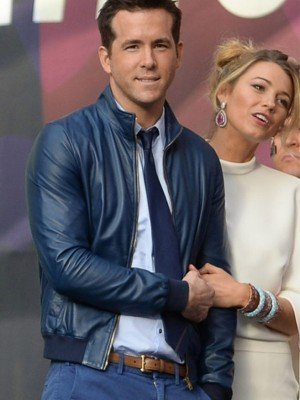 Blake Lively and Ryan Reynolds Blue Leather Jacket