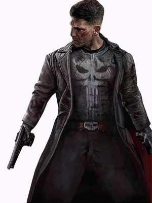 Jon Bernthal Punisher Black Leather Coat