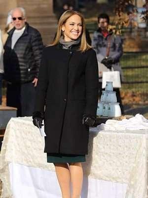 Second Act Jennifer Lopez Black Wool Coat