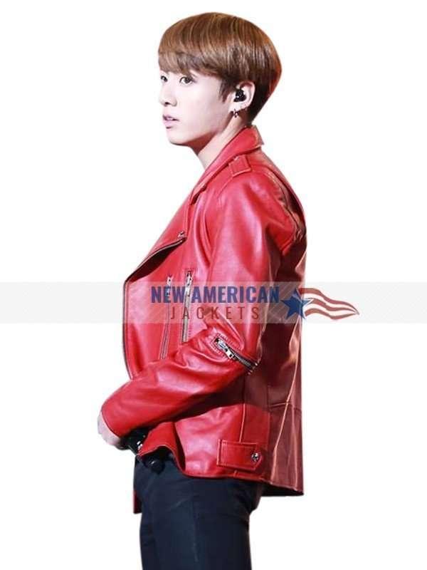 Jungkook Red Biker Jacket