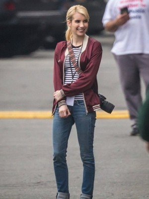 Emma Roberts Nerve Satin Bomber Jacket