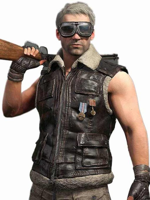 PUBG Brown Shearling Leather Vest