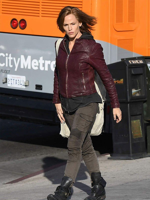 Peppermint Jennifer Garner Maroon Leather Jacket