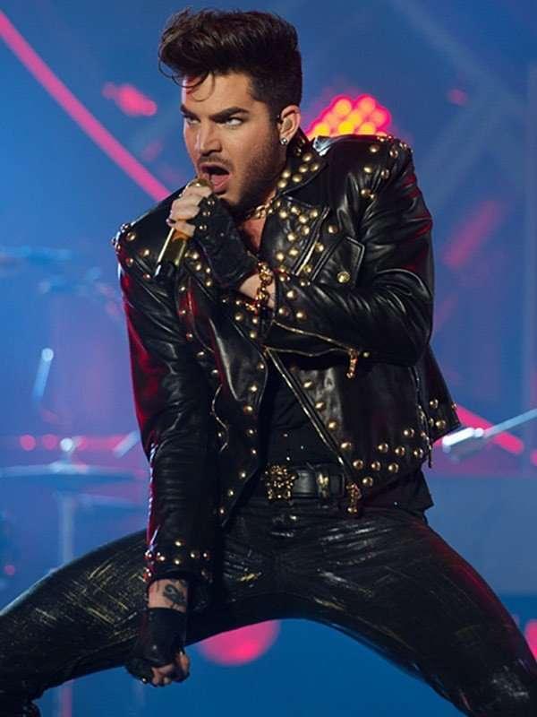 Queen Concert 2018 Adam Lambert Studded Leather Jacket