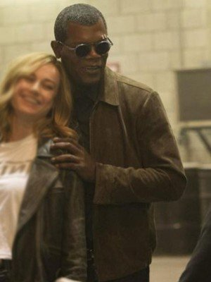 Nick Fury Captain Marvel Suede Leather Jacket