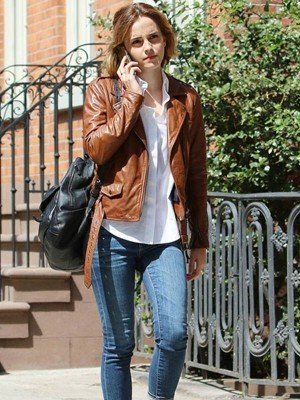 Emma Watson Brown Leather Jacket