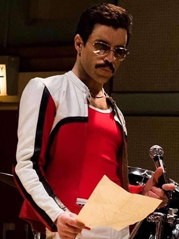 2fc00f0cba2 Bohemian Rhapsody Rami Malek White and Red Leather Jacket  Freddie Mercury  ...