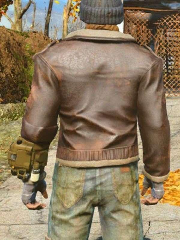 Brown Shearling Bos Uniform Jacket