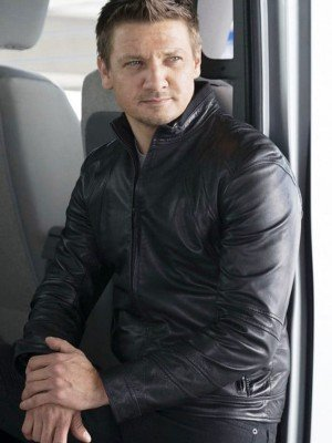 Civil War Jeremy Renner Black Leather Jacket