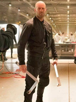 Jason Statham Black Cotton Jacket from Hobbs & Shaw