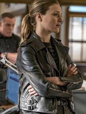 Chicago PD Tracy Spiridakos Black Leather Jacket