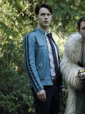 Samuel Barnett Dirk Gently's Holistic Detective Agency Blue Leather Jacket
