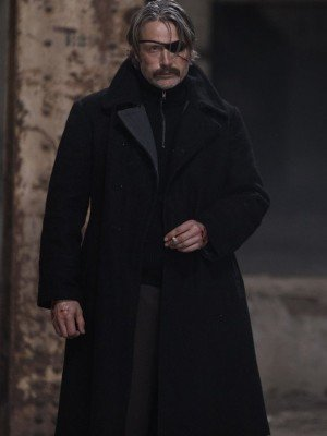 Polar Mads Mikkelsen Black Wool Coat