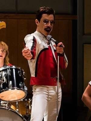 Bohemian Rhapsody Rami Malek White and Red Leather Jacket