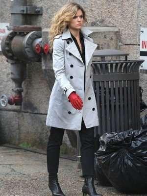 Camren Bicondova Gotham White Trench Coat