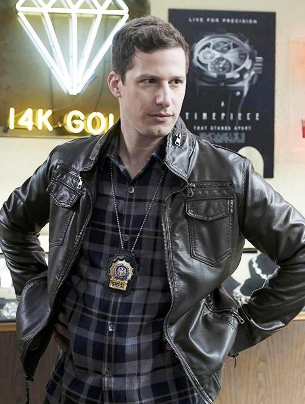 Jake Peralta Black Leather Jacket