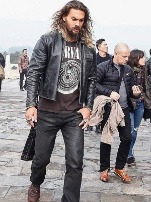 Jason Momoa Black Leather Jacket