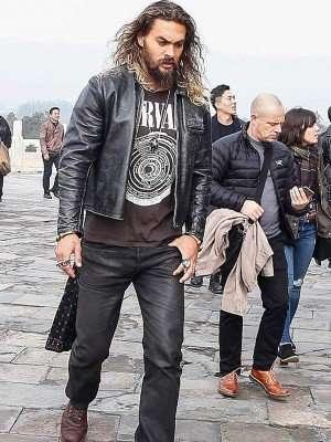 Jason Momoa Black Leather Jacket