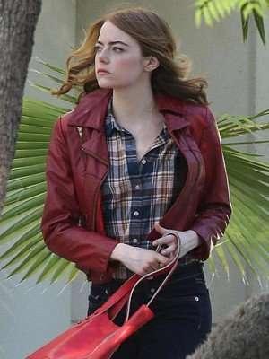 Emma Stone La La Land Maroon Leather Jacket
