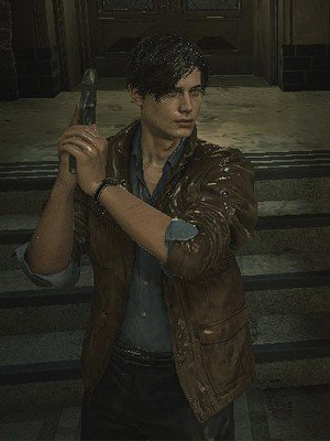 Resident Evil 2 Leon Scott Kennedy Brown Jacket