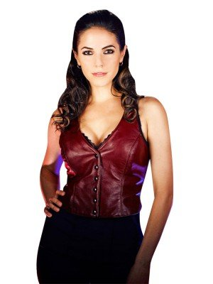 Anna Silk Lost Girl Red Leather Vest