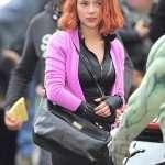 Pink Fleece Jacket of Scarlett Johansson