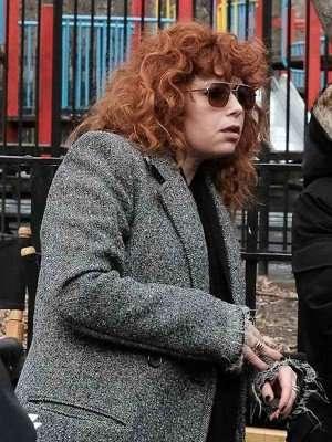 Natasha Lyonne Russian Doll Grey Wool Coat