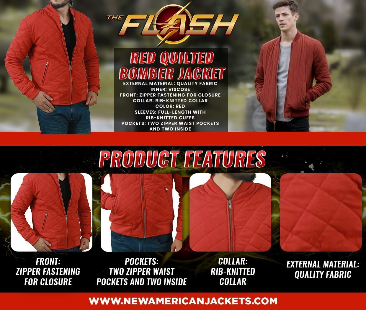 Grant Gustin The Flash Season 5 Red Quilted Cotton Jacket