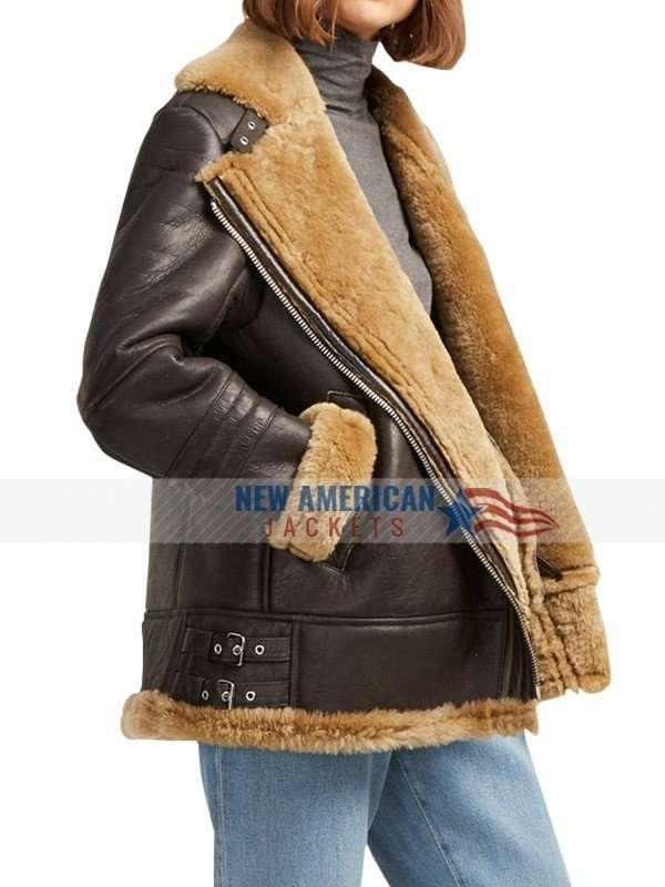 Women Aviator Shearling Bomber Jacket