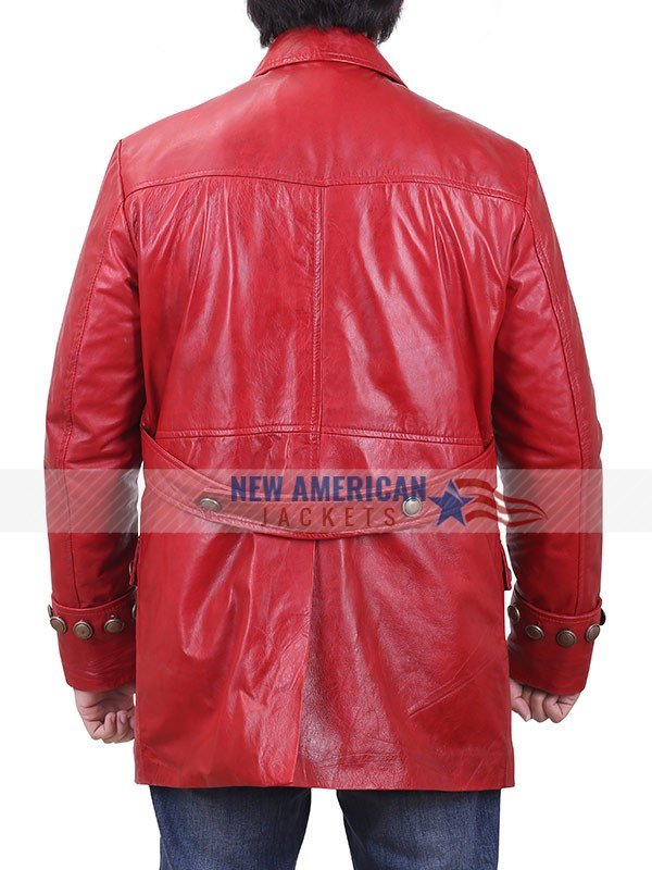 Beauty and The Beast Luke Evans Red Leather Coat