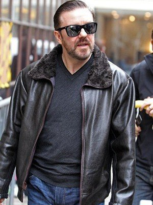 After Life Ricky Gervais Black Leather Jacket