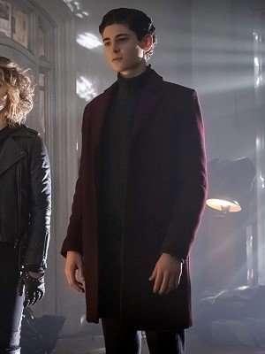 Gotham David Mazouz Maroon Wool Coat