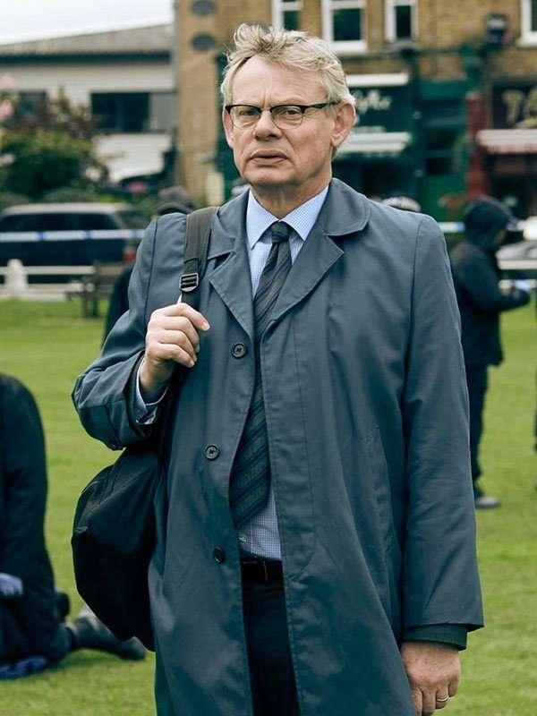 Colin Sutton TV Series Manhunt Blue Cotton Coat