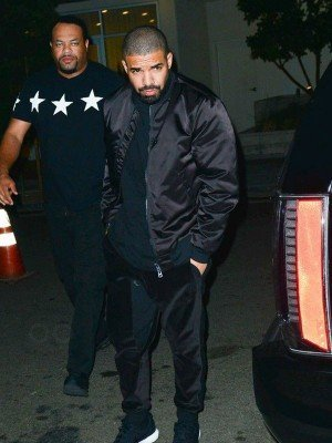 Drake Scorpion Black Satin Bomber Jacket