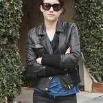 Emma Roberts Black Moto Leather Jacket