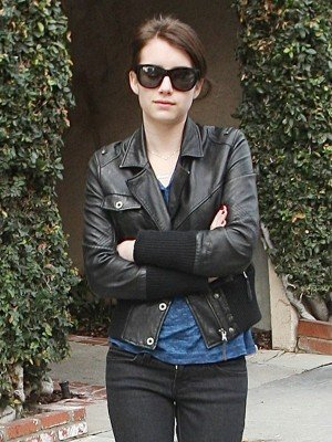 Emma Roberts Black Leather Jacket