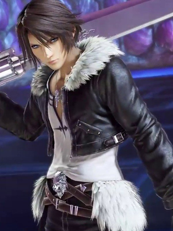 Final Fantasy 8 Squall Leonhart Black Leather Jacket