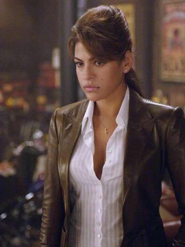 Ghost Rider Eva Mendes Brown Leather Jacket