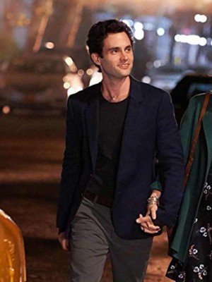 Joe Goldberg You Penn Badgley Blue Cotton Blazer