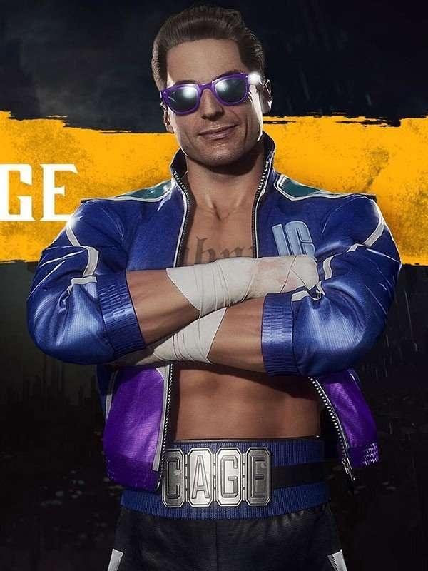 Johnny Cage Video Game Mortal Kombat 11 Blue Leather Jacket