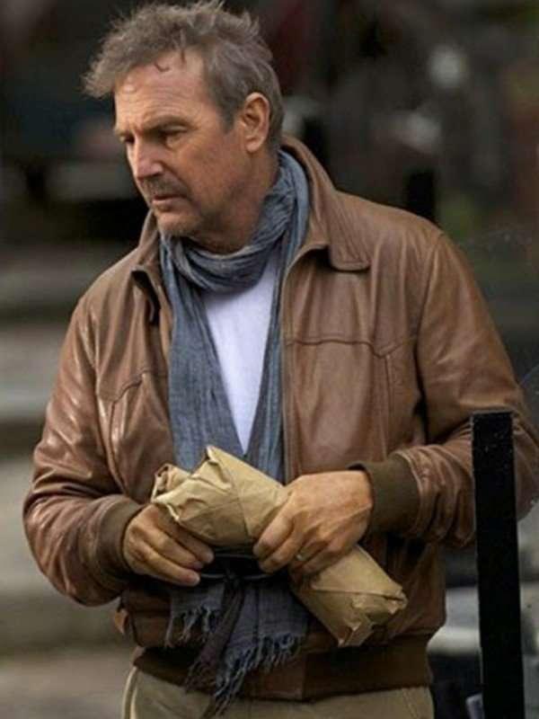 Kevin Costner Brown Leather Jacket