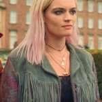 Sex Education Emma Mackey Distressed Leather Jacket