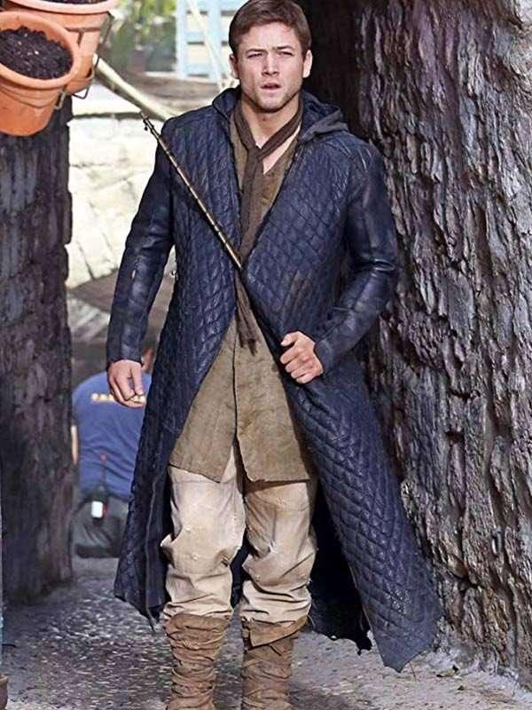 Taron Egerton Robin Hood Leather Coat