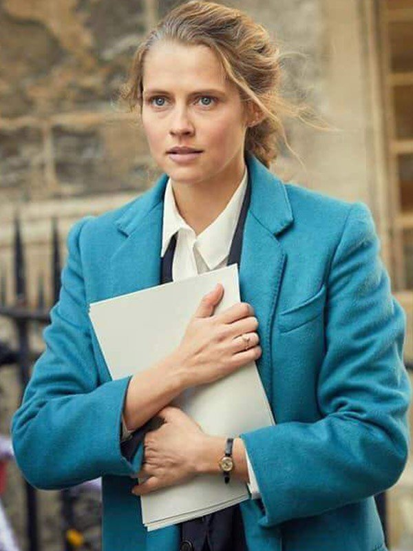 Teresa Palmer A Discovery of Witches Blue Trench Coat